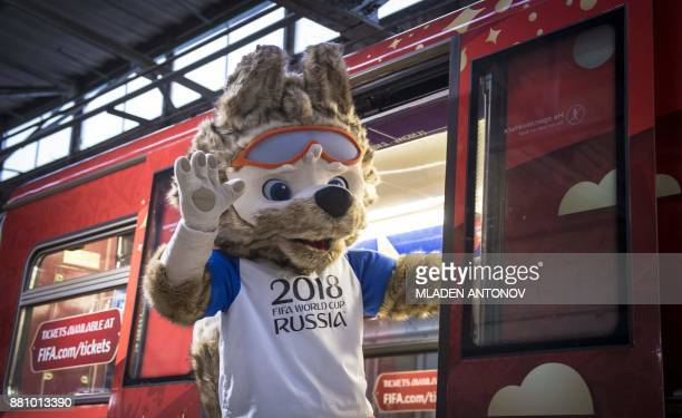 Zabivaka the official mascot for the 2018 FIFA World Cup Russia gestures from a FIFA 2018 World Cup themed metro train at Moscow's Krasnaya Presnya...