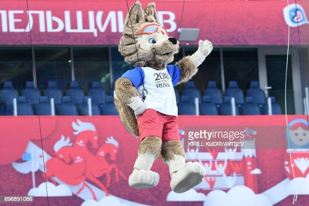 Zabivaka the official Mascot for the 2018 FIFA World Cup Russia takes part in the opening ceremony of the 2017 Confederations Cup football tournament...