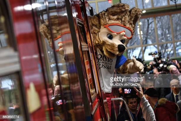 TOPSHOT Zabivaka the official mascot for the 2018 FIFA World Cup Russia attends the unveiling of the official poster for the 2018 FIFA World Cup at...