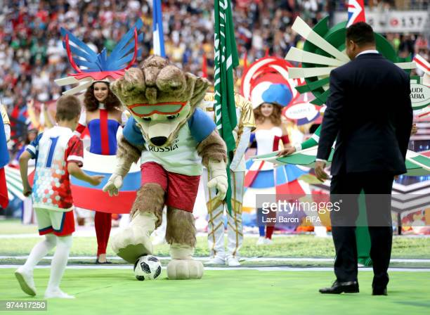 Zabivaka the World Cup Mascot is seen playing football during the opening ceremony prior to the 2018 FIFA World Cup Russia Group A match between...