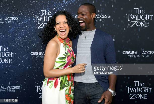 Zabryna Guevara and Sterling K Brown attend CBS All Access new series The Twilight Zone premiere at the Harmony Gold Preview House and Theater on...