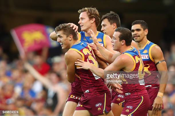 Zac Bailey of the Lions celebrates a goal during the round five AFL match between the Brisbane Lions and the Gold Coast Suns at The Gabba on April...