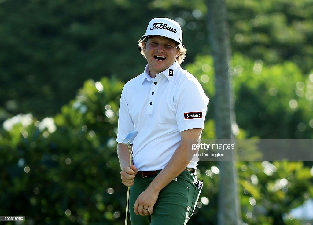 Zac Blair reacts after putting for birdie on the 13th green during the third round of the Sony Open In Hawaii at Waialae Country Club on January 16, 2016 in Honolulu, Hawaii.