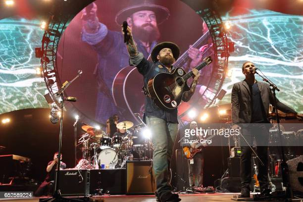 Zac Brown and Jimmy De Martini of the Zac Brown Band perform on day three of C2C Country to Country 2017 Festival at O2 Arena on March 12 2017 in...