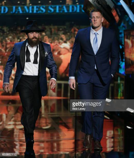 Zac Brown and JJ Watt present the AP Defensive Player of the Year to Khalil Mack of the Oakland Raiders during the NFL Honors at the Wortham Theater...