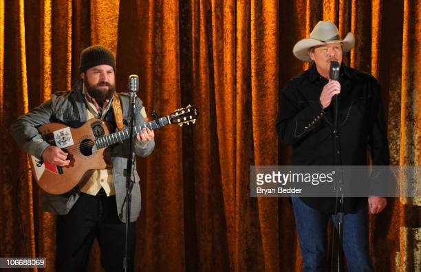 Zac Brown of the Zac Brown Band and Alan Jackson perform onstage at the 44th Annual CMA Awards at the Bridgestone Arena on November 10 2010 in...