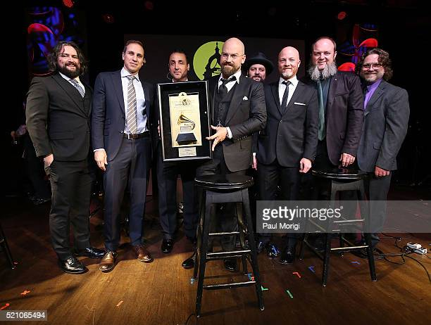 Zac Brown with members of the Zac Brown Band receive The Recording Artists' Coalition Award during 2016 Grammys On The Hill Awards at The Hamilton on...