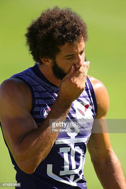 Zac Clarke looks on during a Fremantle Dockers AFL training session at Fremantle Oval on February 24 2014 in Fremantle Australia