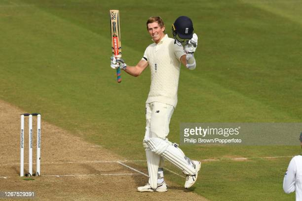 Zac Crawley of England celebrates reaching his century during the first day of the Third Test match against Pakistan at the Ageas Bowl on August 21...