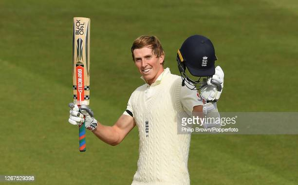 Zac Crawley of England celebrates reaching his century during the first day of the Third Test match against Pakistan at the Ageas Bowl on August 21,...