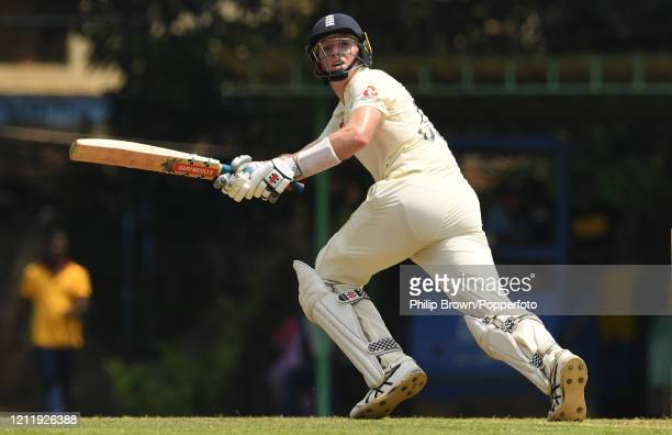 Zac Crawley of England hits out during the match between a Sri Lanka Board President's XI and England at P Sara Oval on March 12, 2020 in Colombo,...