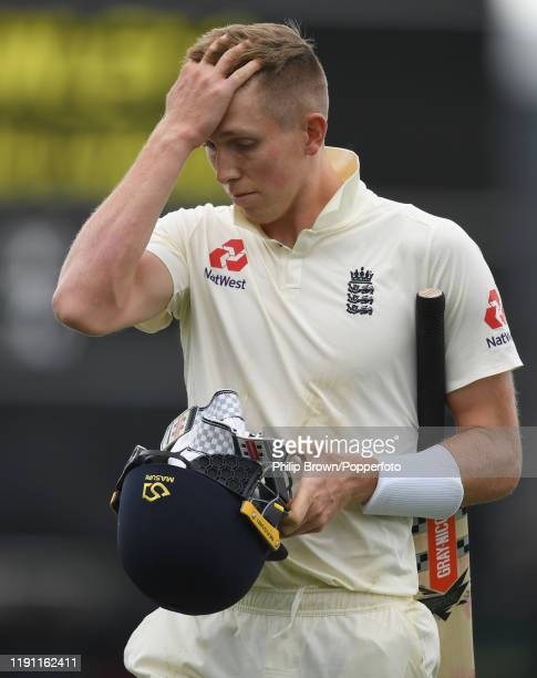 Zac Crawley of England leaves the field after being dismissed during day 3 of the second Test match between New Zealand and England at Seddon Park on...