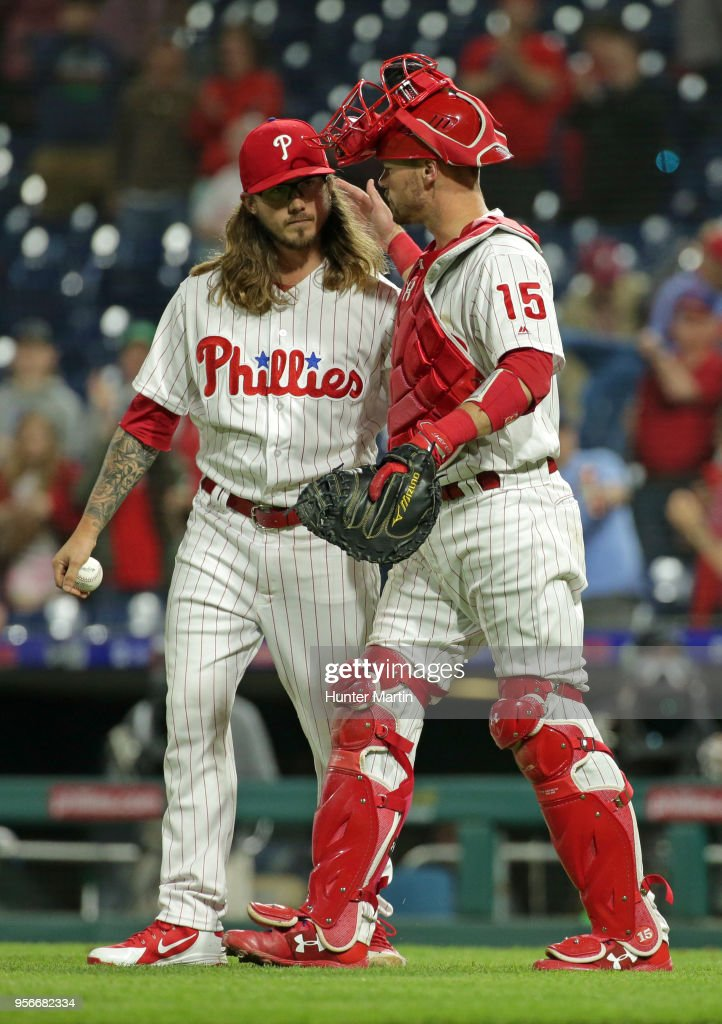 Zac Curtis #52 of the Philadelphia Phillies is congratulated by Andrew Knapp #15 after finishing a game against the San Francisco Giants at Citizens Bank Park on May 9, 2018 in Philadelphia, Pennsylvania. The Phillies won 11-3.