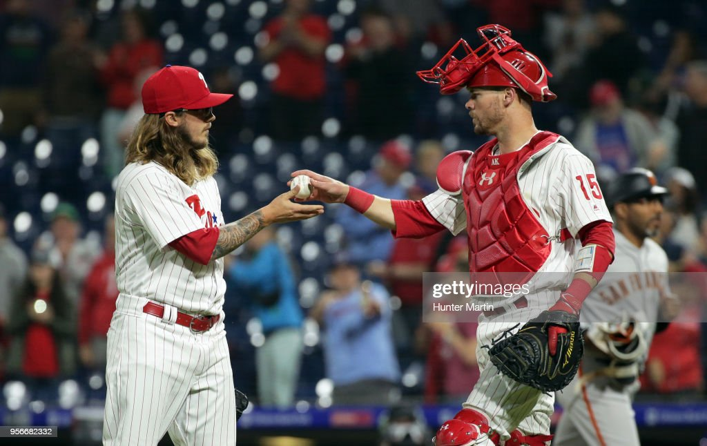 Zac Curtis #52 of the Philadelphia Phillies is given the game ball by Andrew Knapp #15 after finishing a game against the San Francisco Giants at Citizens Bank Park on May 9, 2018 in Philadelphia, Pennsylvania. The Phillies won 11-3.