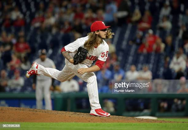 Zac Curtis of the Philadelphia Phillies throws a pitch during a game against the San Francisco Giants at Citizens Bank Park on May 9 2018 in...