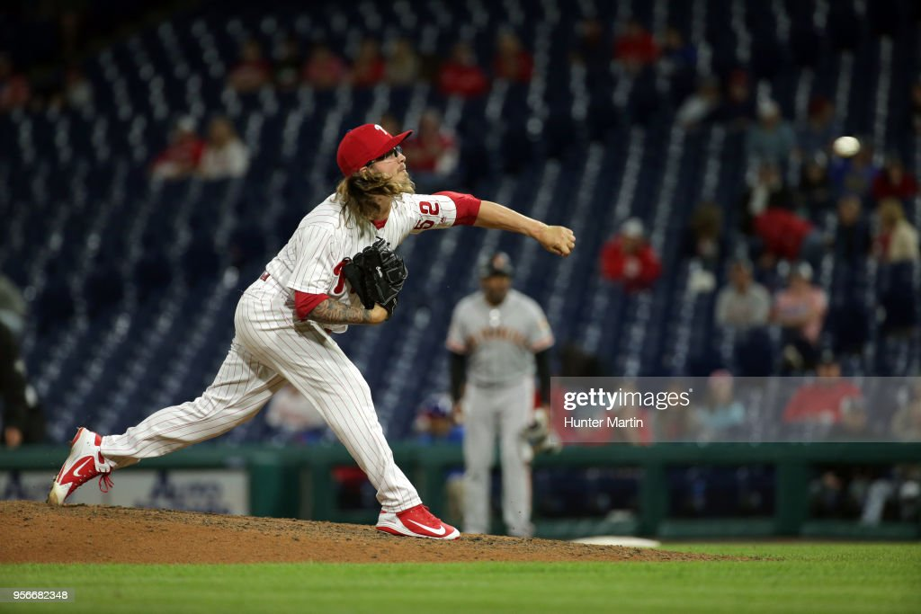 Zac Curtis #52 of the Philadelphia Phillies throws a pitch in the ninth inning during a game against the San Francisco Giants at Citizens Bank Park on May 9, 2018 in Philadelphia, Pennsylvania. The Phillies won 11-3.
