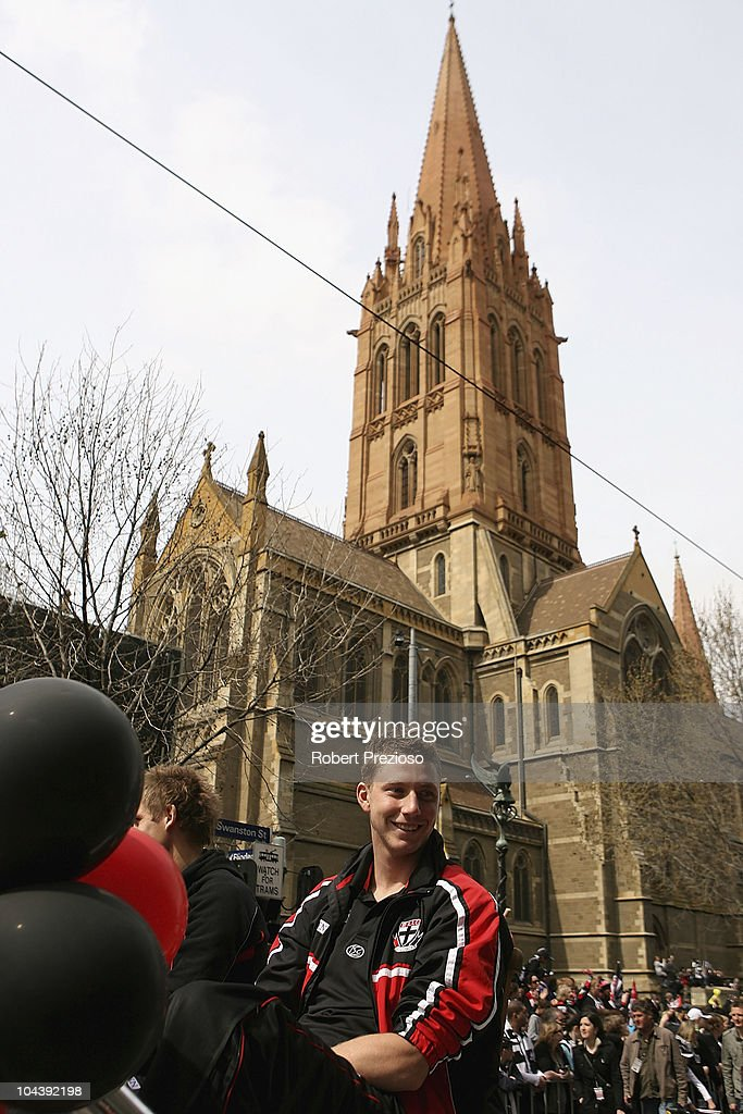 Zac Dawson of St Kilda travels along Swanston street during the AFL Grand Final Parade on September 24, 2010 in Melbourne, Australia.