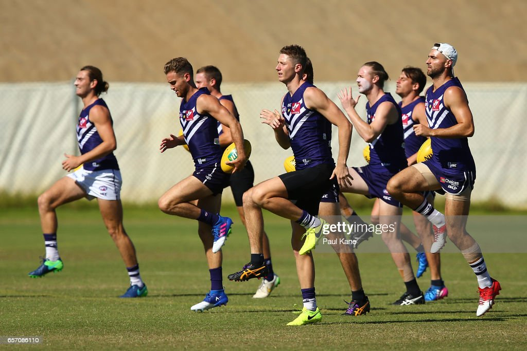 Zac Dawson of the Dockers warms up during a Fremantle Dockers AFL training session at Victor George Kailis Oval on March 24, 2017 in Perth, Australia.