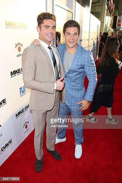Zac Efron and Adam Devine arrive at 'Mike and Dave Need Wedding Dates' Red Carpet Screening presented in partnership with FIJI Water on June 29 2016...
