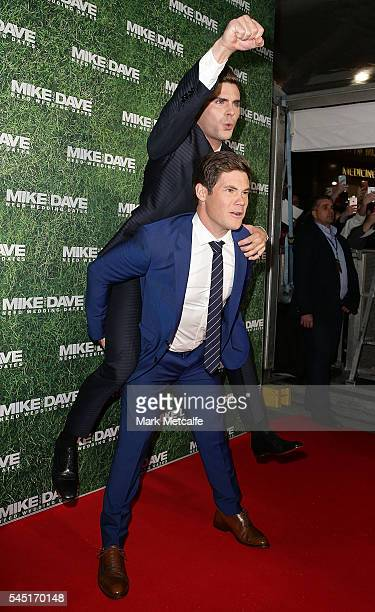 Zac Efron and Adam Devine attend the Mike And Dave Need Wedding Dates fan premiere at Event Cinemas Parramatta on July 6 2016 in Sydney Australia