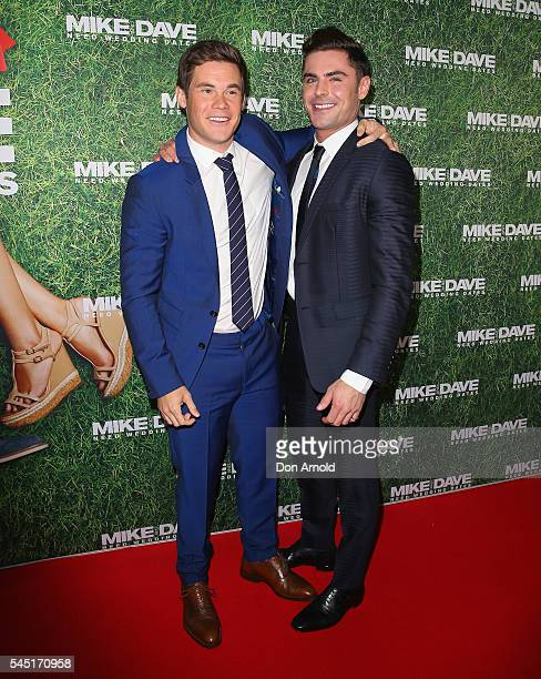 Zac Efron and Adam Devine attends the Mike And Dave Need Wedding Dates fan premiere at Event Cinemas Parramatta on July 6 2016 in Sydney Australia