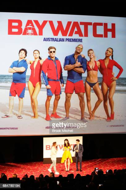 Zac Efron and Alexandra Daddario attend the Australian premiere of 'Baywatch' at Hoyts EQ on May 18 2017 in Sydney Australia