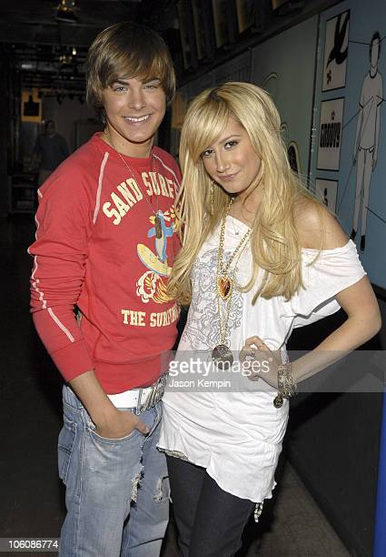 Zac Efron and Ashley Tisdale during Reggie Bush and Ace Young Visit MTV's 'TRL' April 26 2006 at MTV Studios Times Square in New York City New York...