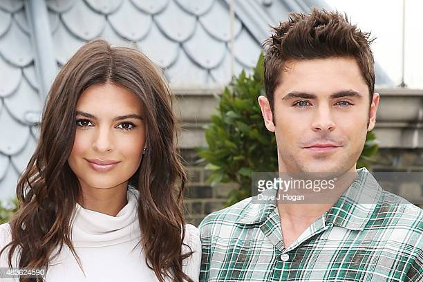 Zac Efron and Emily Ratajkowski pose at the 'We Are Your Friends' photocall at the Corinthia Hotel London on August 11 2015 in London England