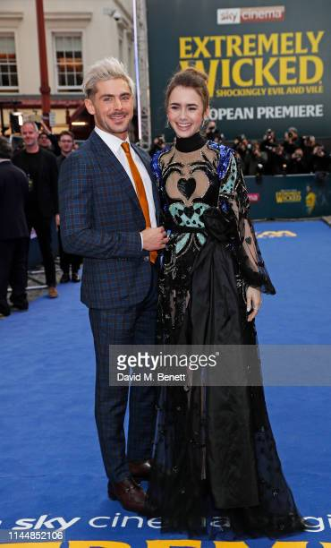 """Zac Efron and Lily Collins attend the European Premiere of """"Extremely Wicked, Shockingly Evil And Vile"""" at The Curzon Mayfair on April 24, 2019 in..."""