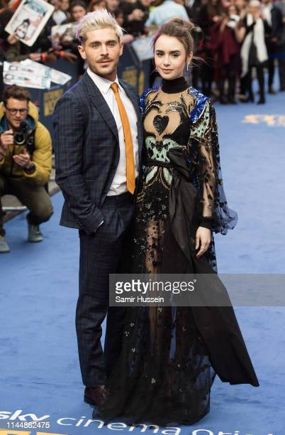 """Zac Efron and Lily Collins attend the """"Extremely Wicked, Shockingly Evil and Vile"""" European premiere at The Curzon Mayfair on April 24, 2019 in..."""