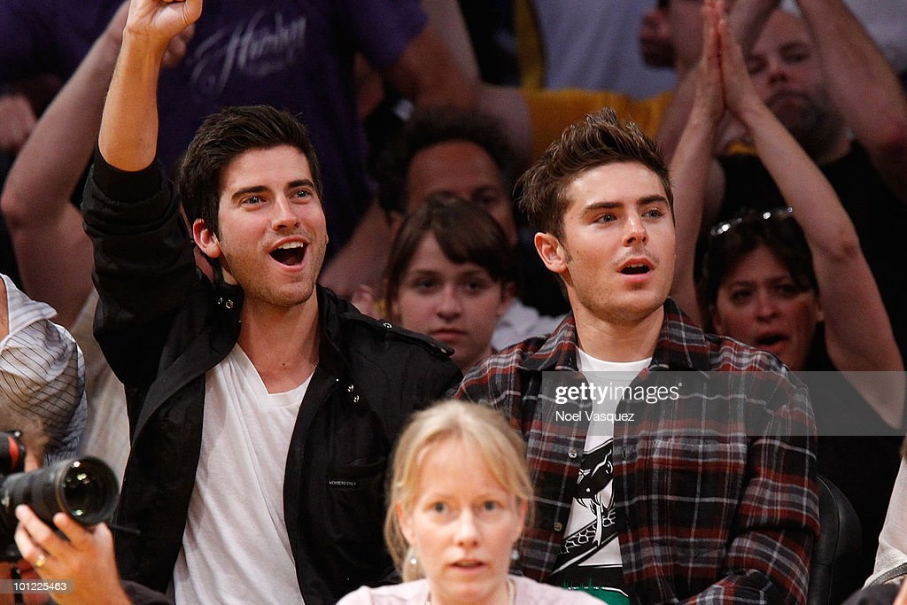 Zac Efron (R) and Ryan Rottman attend Game Five of the Western Conference Finals between the Phoenix Suns and the Los Angeles Lakers during the 2010 NBA Playoffs at Staples Center on May 27, 2010 in Los Angeles, California.