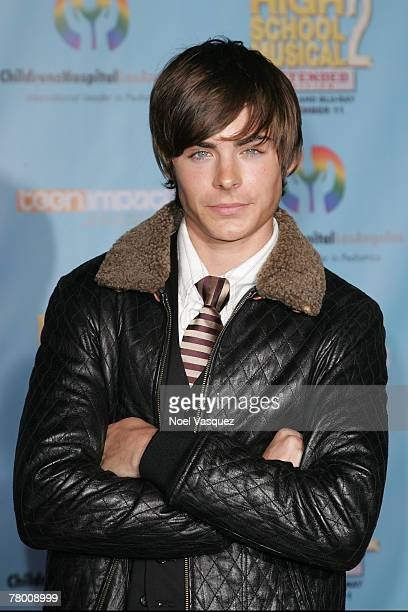 Zac Efron arrives at the DVD premiere of Disney's 'High School Musical 2' held at the El Capitan Theatre on November 19 2007 in Los Angeles...