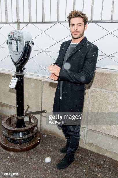 Zac Efron attends the cast of 'The Greatest Showman' light the Empire State Building at The Empire State Building on December 9 2017 in New York City