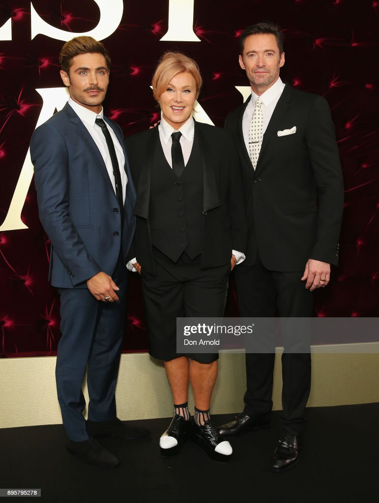 Zac Efron, Deborra-Lee Furness and Hugh Jackman attend the Australian premiere of The Greatest Showman at The Star on December 20, 2017 in Sydney, Australia.