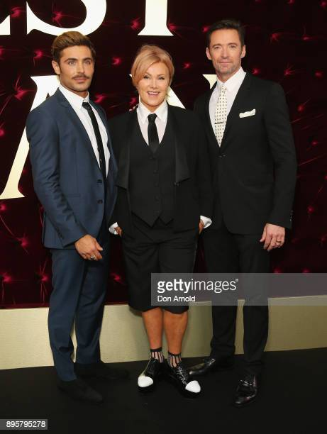 Zac Efron DeborraLee Furness and Hugh Jackman attend the Australian premiere of The Greatest Showman at The Star on December 20 2017 in Sydney...