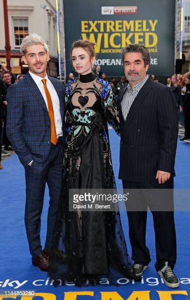 """Zac Efron, Lily Collins and Joe Berlinger attend the European Premiere of """"Extremely Wicked, Shockingly Evil And Vile"""" at The Curzon Mayfair on April..."""