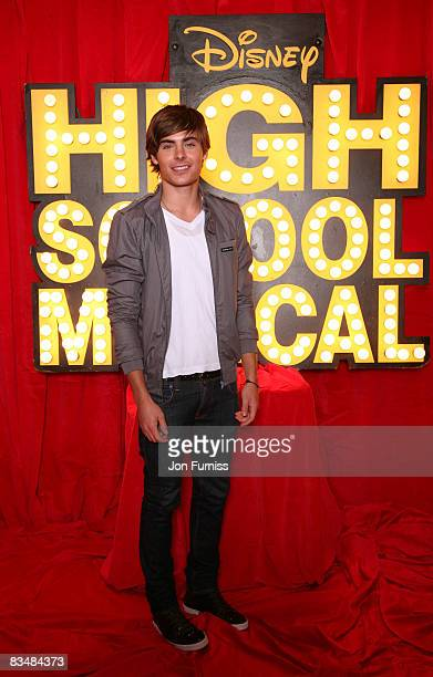 Zac Efron poses at the photo call for High School Musical 3 Senior Year at The Dorchester on October 8 2008 in London England