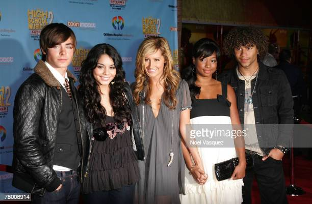 Zac Efron Vanessa Anne Hudgens Ashley Tisdale Monique Coleman and Corbin Bleu arrive at the DVD premiere of Disney's 'High School Musical 2' held at...