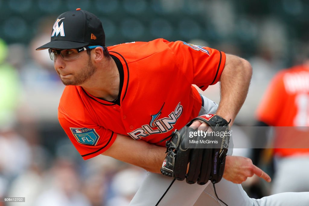 Zac Gallen #84 of the Miami Marlins pitches during the first inning of the Spring Training game against the Detroit Tigers at Joker Marchant Stadium on March 02, 2018 in Lakeland, Florida.