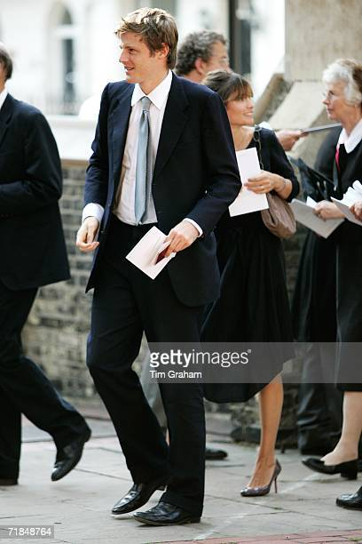 Zac Goldsmith and his wife Sheherazade leave St Paul's Church in Knightsbridge after a memorial service for Major Bruce Shand on September 11 2006 in...