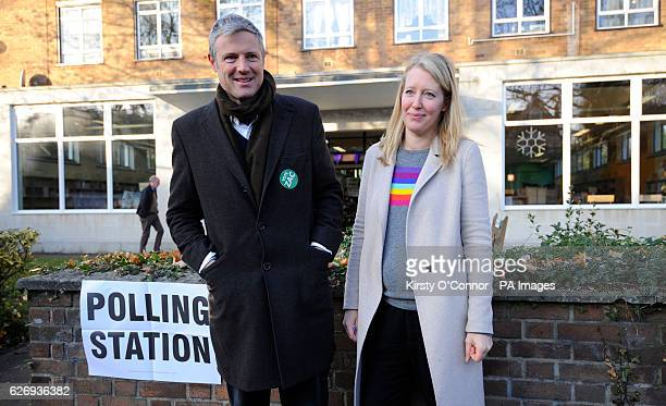 Zac Goldsmith arrives with wife Alice to vote at a polling station in Richmond south west London in a byelection caused by his resignation as an MP...