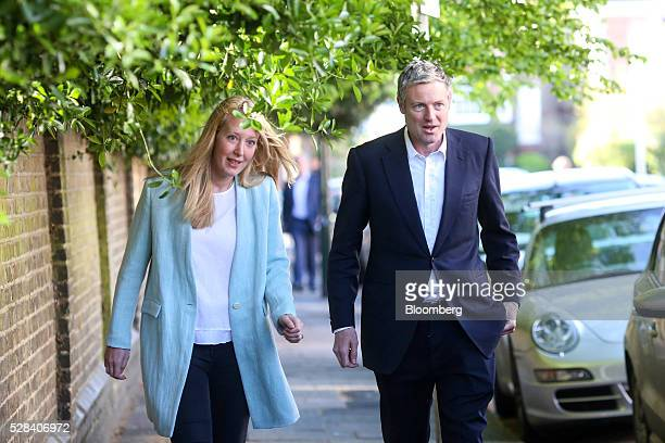 Zac Goldsmith the Conservative Party candidate for London mayor and his wife Alice Rothschild left arrive at a polling station to vote in the Mayor...