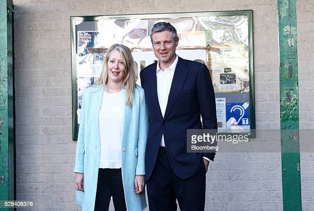 Zac Goldsmith the Conservative Party candidate for London mayor and his wife Alice Rothschild pose for a photograph after casting their votes in the...