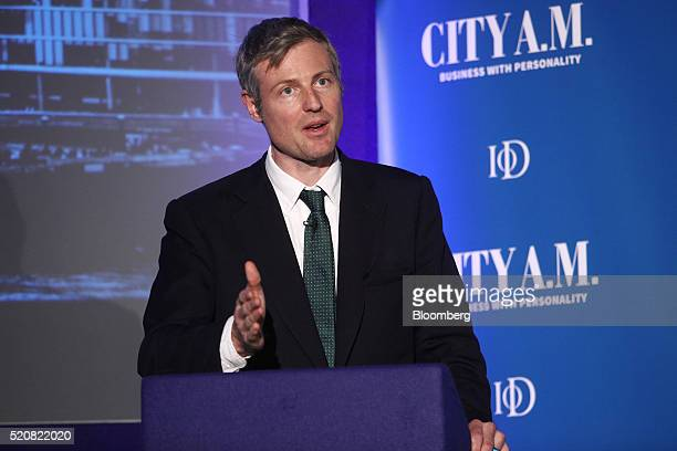 Zac Goldsmith the Conservative Party candidate for London mayor speaks during the London mayoral debate in London UK on Tuesday April 12 2016 The...