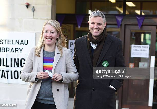 Zac Goldsmith with his wife Alice after voting at a polling station in Richmond south west London in a byelection caused by his resignation as an MP...