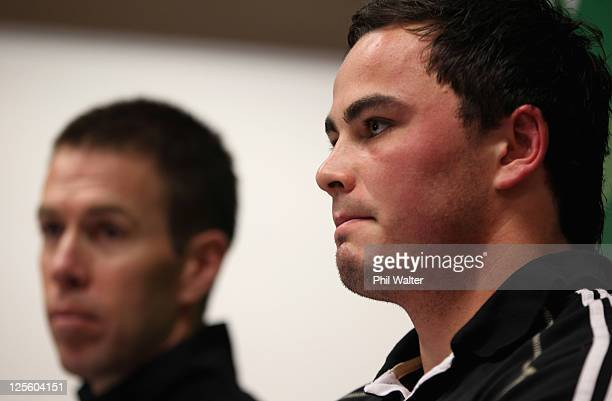 Zac Guildford of the All Blacks fronts the media alongside Manager Darren Shand during a New Zealand All Blacks IRB Rugby World Cup 2011 press...