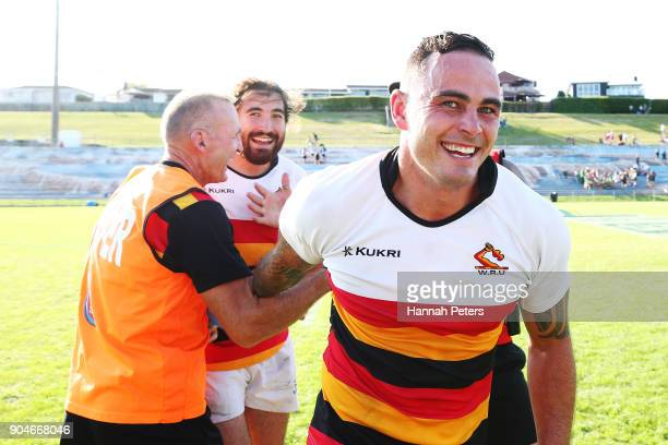 Zac Guildford of Waikato celebrates after winning the Bayleys National Sevens Men's Cup Final match between Waikato and Tasman at Rotorua...