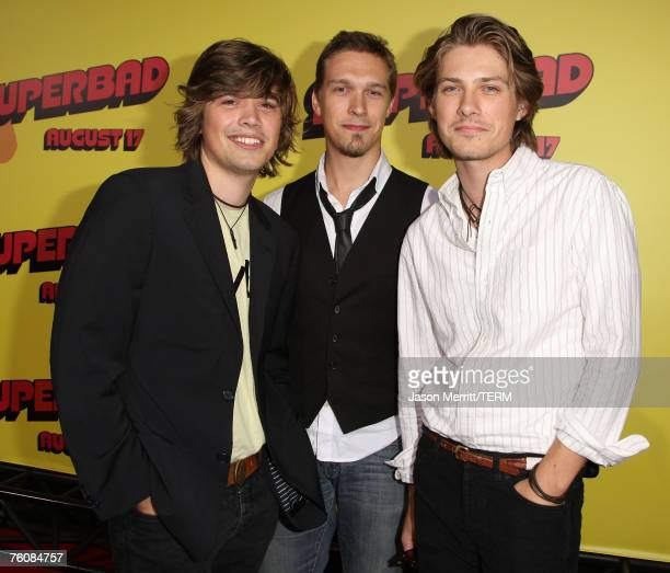 Zac Hanson Taylor Hanson and Isaac Hanson arrive to the premiere of Superbad at Grauman's Chinese Theatre on August 13 2007 in Hollywood California