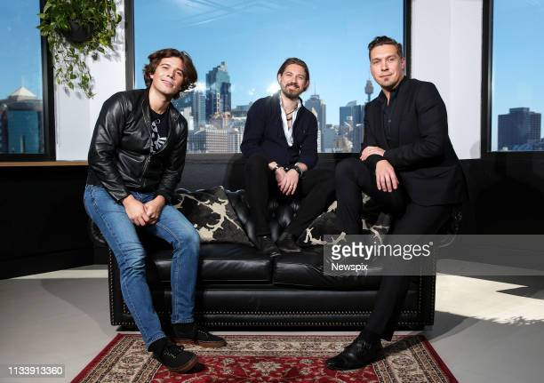 SYDNEY NSW Zac Hanson Taylor Hanson and Isaac Hanson of Hanson pose during a photo shoot in Sydney New South Wales