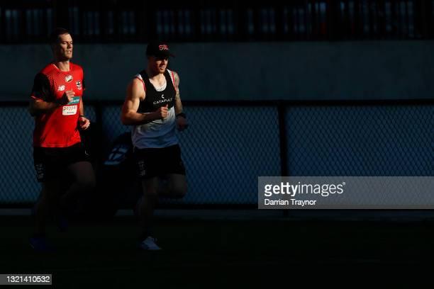 Zac Jones of the Saints runs laps during a St Kilda Saints AFL training session at RSEA Park on June 03, 2021 in Melbourne, Australia.